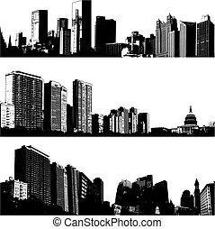 城市, 3, 矢量, 地平線