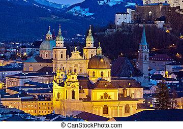 城市, hohensalzburg, .., 薩爾茨堡, 奧地利, 要塞, 看法