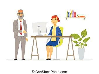 堅韌, 人們, 現代, -, 插圖, 老板, 字符, 卡通漫畫談話