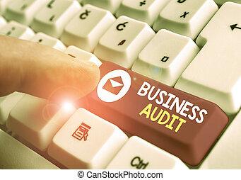 報告, 相片, 正文, 顯示, 概念性, 簽署, audit., 金融, organisation., 檢查, 事務