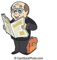 報紙, 商人, 卡通