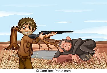 場景, 打獵, 大猩猩, 人