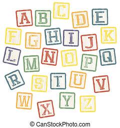 塊, 字母表, 矢量, eps8, collection., 嬰孩