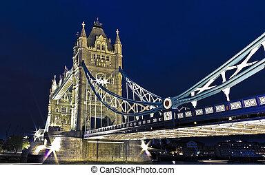 塔, 夜晚, 橋梁