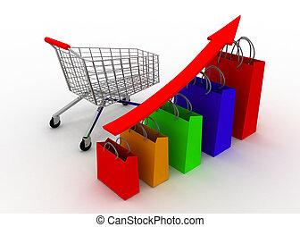 增長, 圖表, 車, 銷售