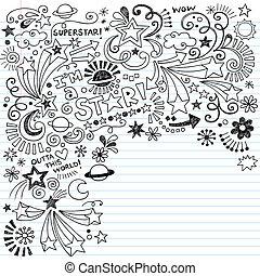 墨黑, 矢量, 超級明星, doodles