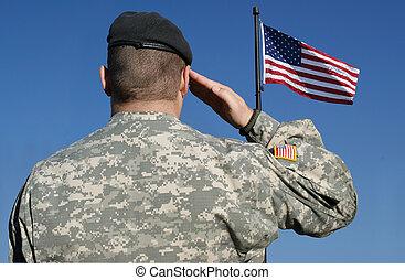 士兵, 旗, salutes