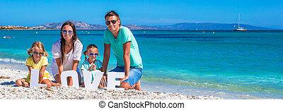夏天, 家庭假期, 四, 在期間, 海灘, 愉快