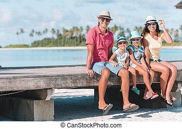 夏天, 家庭假期, 在期間, 海灘, 愉快