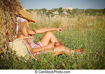 夏天, 放松的女人, 年輕, 領域, 在戶外
