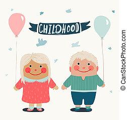 夏天, 朋友, 孩子, baloons