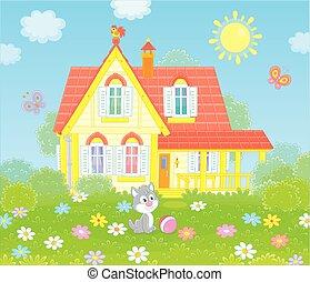 夏天, 村莊, 陽光充足的日, 房子