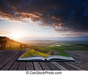 夏天, 概念, 圖像, 創造性, 書, 頁, 風景