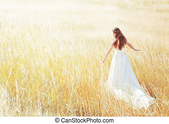 夏天, 步行, 婦女, 草地, 陽光普照, 触, 草, 天