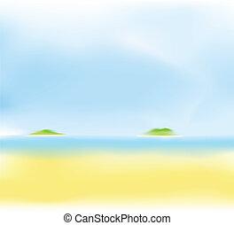 夏天, 海灘, 背景, 迷離