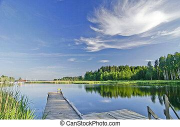 夏天, 生動, 天空, 湖, 平靜, 在下面
