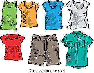 夏天, 略述, collection., 插圖, 矢量, 衣服