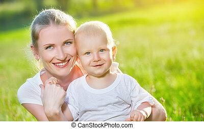 夏天, 自然, 兒子, 媽媽, 嬰孩, 愉快