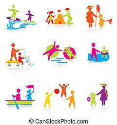 夏天, 集合, 黑色半面畫像, 人們, family., 人, 圖象, -, 男孩, 孩子, 父親, vector., 時間, 婦女, mother., 女孩, 孩子