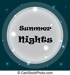 夏天, 題字, 天空, 月亮, 背景, 夜晚
