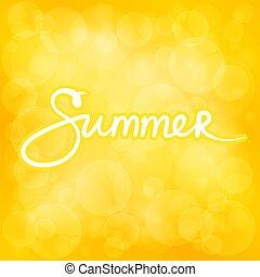 夏天, bokeh, 黃色的背景