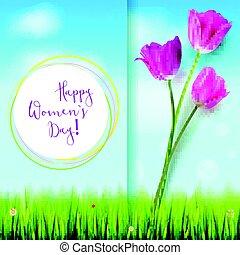 夏天, clouds., 邀請, hand-drawn, 問候, 你, 粉紅色, card., 鬱金香, 天空, 天, 樣板, 白色, inscription., 愉快, 藍色, 背景。, 婦女, 覆蓋, 綠色的草, 或者