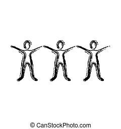 外形, 舉起手來, 圖象, 人們