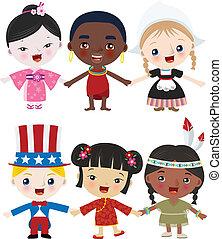 多文化, 孩子, 一起