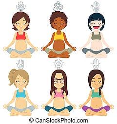 多种多樣, 組, 擺在, 瑜伽, 怀孕