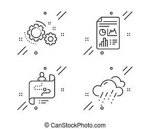 多雨, 矢量, 圖象, set., 天氣, 齒輪, 報告, 路徑, 文件, 徵候。, 旅行