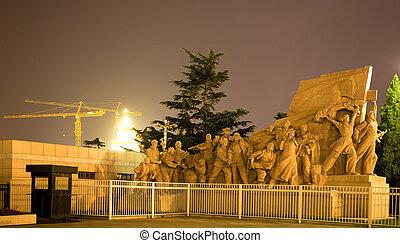 夜晚, 廣場, 北京, 瓷器, 前面, 雕像, mao, 墳, 天安門