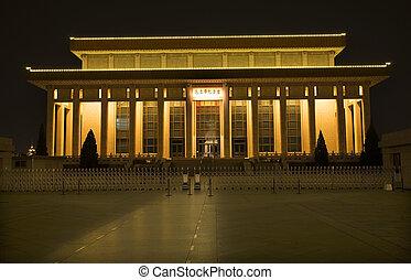 夜晚, 廣場, 北京, 瓷器, tse, tung, mao, 墳, 天安門