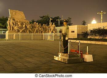 夜晚, 廣場, 北京, policem, 瓷器, tse, 雕像, tung, mao, 天安門