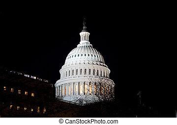 夜晚, 我們, 建築物, 華盛頓, 美國, dc, 國會大廈圓頂