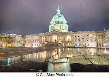 夜晚, 美國美國國會大廈, 建築物