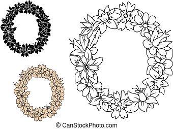 大寫, o, 信, 葡萄酒, 植物, 花