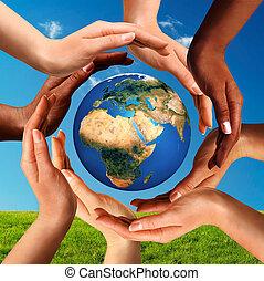 大約, 全球, 一起, 多種族, 手, 世界