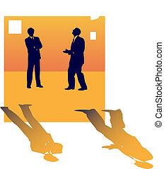 大約, 商業界人士, 二, 談話, 工作, lose., 黑色半面畫像