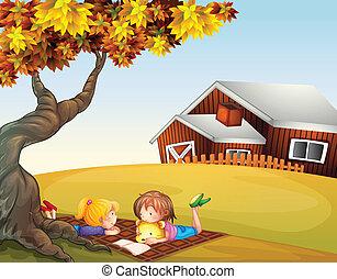 大, 孩子, 樹, 閱讀, 在下面