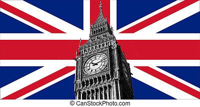 大, 旗, ben, 英國, 英國人