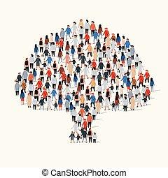 大, 樹。, 組, 形式, 人們