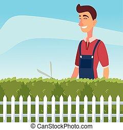 大, 飾物, 園藝, 樹, 或者, 飛剪機, 人, 布希
