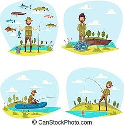 大 魚, 矢量, 釣魚抓住, 漁夫, 人