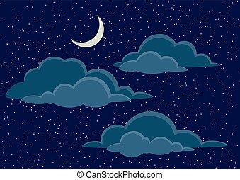 天空, 云霧, 夜晚