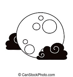 天空, 夜晚, 充分, 云霧, 風格, 被隔离, 圖象, 月亮, 卡通, 線