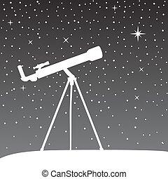 天空, 夜晚, 黑色半面畫像, 望遠鏡, 背景。
