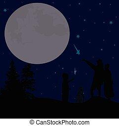 天空, 夫婦, 夜晚, 黑色半面畫像, 觀看