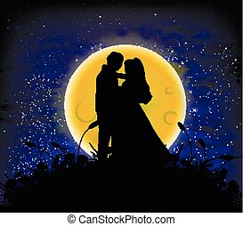 天空, 愛, 月, 夜晚