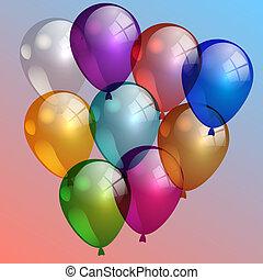 天空, 插圖, 空氣, 矢量, 多顏色, 气球