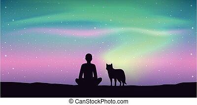 天空, 狗, 美麗, 喜愛, 他的, 奧拉拉 borealis, 不滿星星的, 人